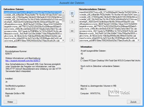 Experten-Modus - Auswahl der Dateien