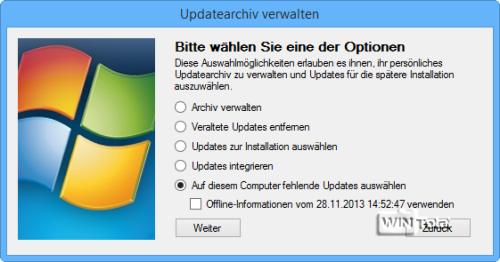 Auf diesem Computer fehlende Updates auswählen