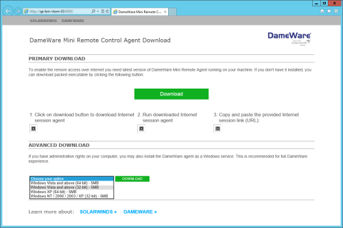 Agent Download page, Solarwinds, DameWare