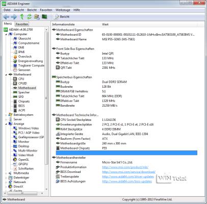 AIDA64, Informationen zur Hardware