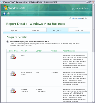 Vista Upgrade Advisor