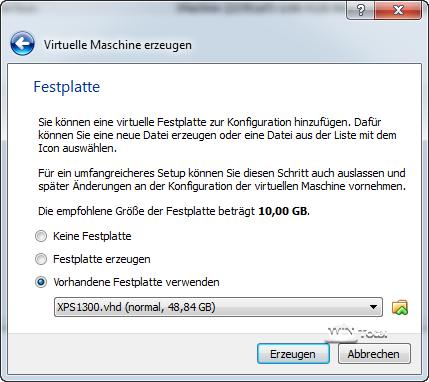 Nutzung der gesicherten VHD-Datei