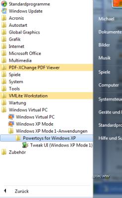 XP-Programme im Startmenü von Windows 7