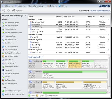 Benutzeroberfläche von Acronis Disk Director 12