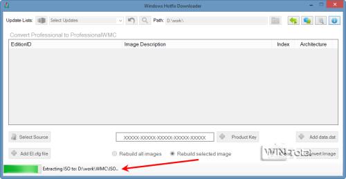 ISO-Datei wird im Verzeichnis D:workWMCISO entpackt
