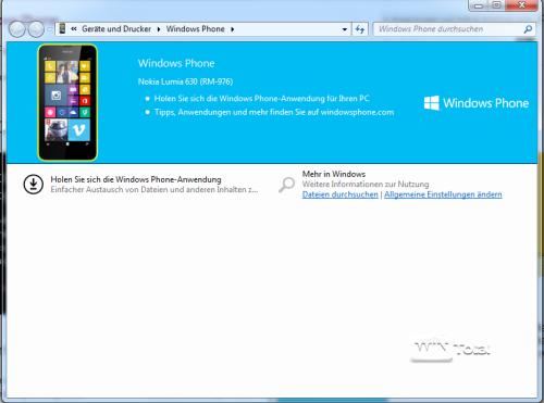 Hinweis auf Windows Phone-Anwendung