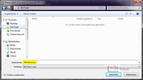 Speicherort für ISO-Datei