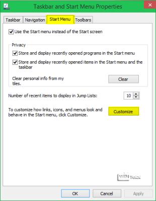 Start Menu – Customize