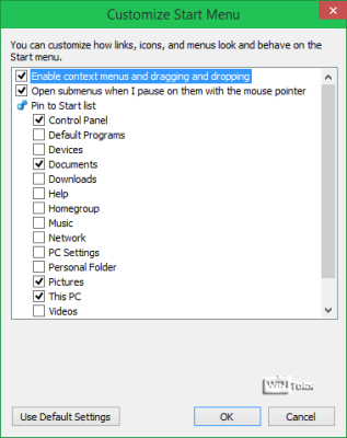 Startmenü-Auswahl –Pin to Start list