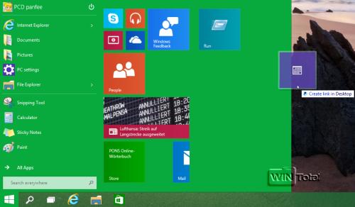 App aus dem Startmenü auf den Desktop ziehen