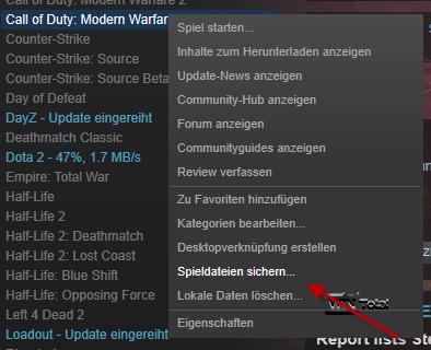 Spiele sichern in Steam