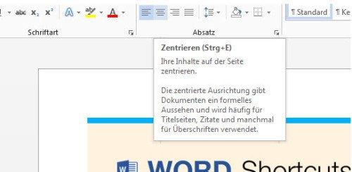 Ausrichtung Microsoft Word