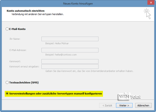Servereinstellungen manuell konfigurieren
