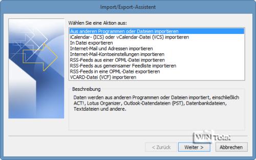 Import/Export-Assistent