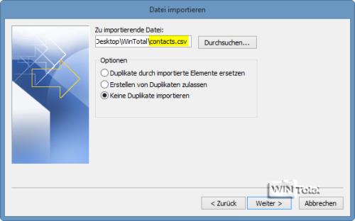 Zu importierende Datei contacts.csv
