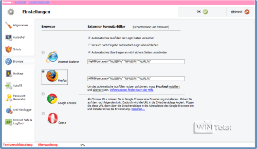 Einstellungen – Browser