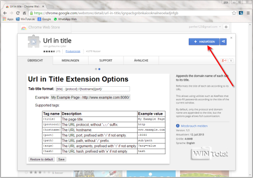 Google Chrome Erweiterung Url in title hinzufügen