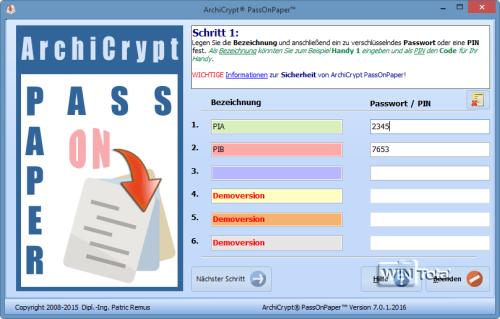 PassOnPaper: Bezeichnung und Passwort