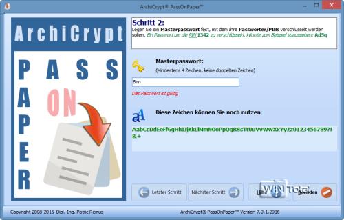 PassOnPaper: Master-Passwort eingeben