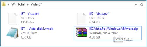 Ordner VistaIE7 mit Dateien