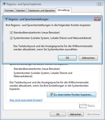 Regions- und Sprachoptionen – Verwaltung