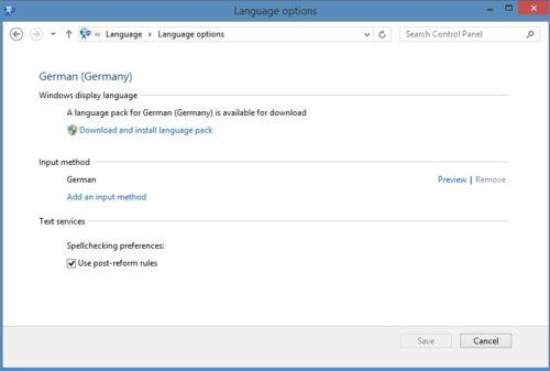 Sprache unter Windows 8.1