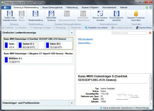 Oberfläche von Paragon Backup & Recovery 2014 Free