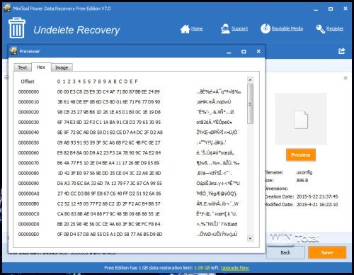 Preview gelöschter Dateien