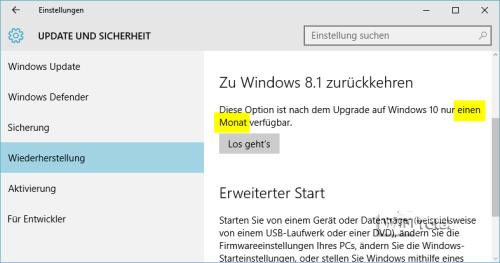 Wiederherstellung zu Windows 8