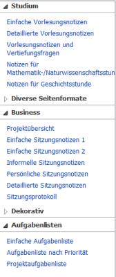 Seitenvorlagen in OneNote