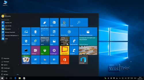 Neues Startmenü von Windows 10