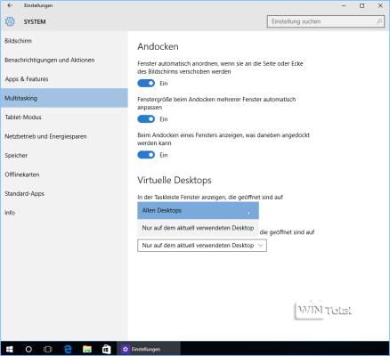 Einstellungen für virtuelle Desktops