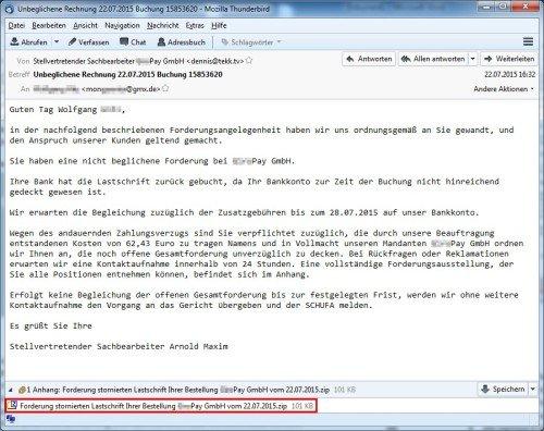 Spam-E-Mail mit Win32/Trustezeb im Anhang