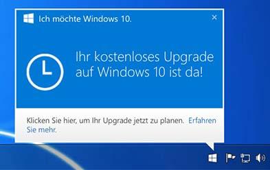 Kostenloses Uprade auf Windows 10