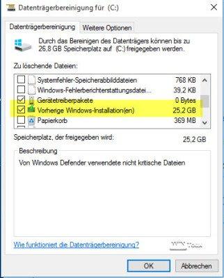 Vorheriges Windows löschen