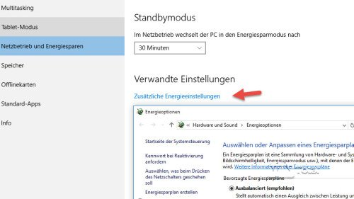 Energieeinstellungen Windows 10