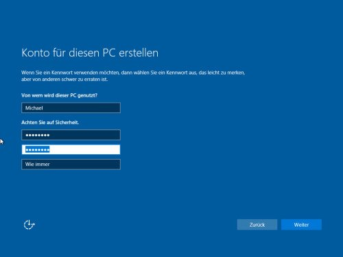 Lokales Konto in Windows 10