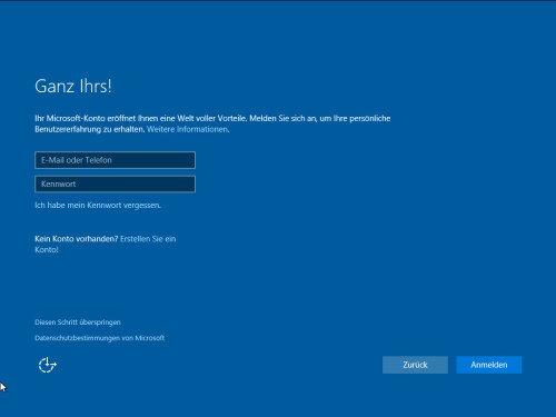 Microsoft Konto Anmeldung während der Installation