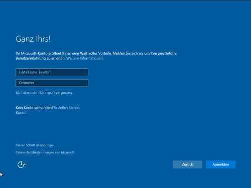 Microsoft-Konto oder lokales Konto