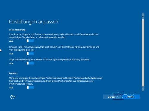 Datenshutzeinstellungen Windows 10 bei Setup