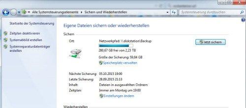 Sichern und Wiederherstellen Windows 7