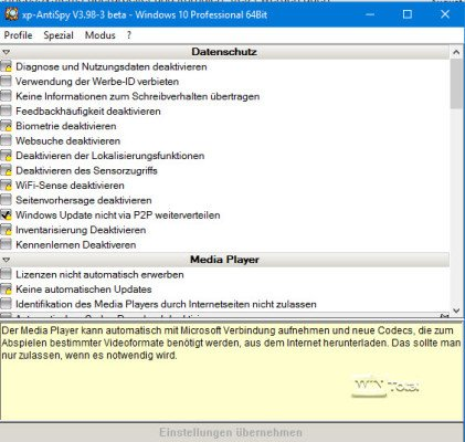XP-Antispy unter Windows 10
