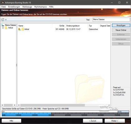 Brennen von Dateien