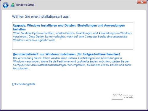 benutzerdefinierte Installation
