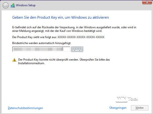 Lizenzkeyeingabe bei Windows 10