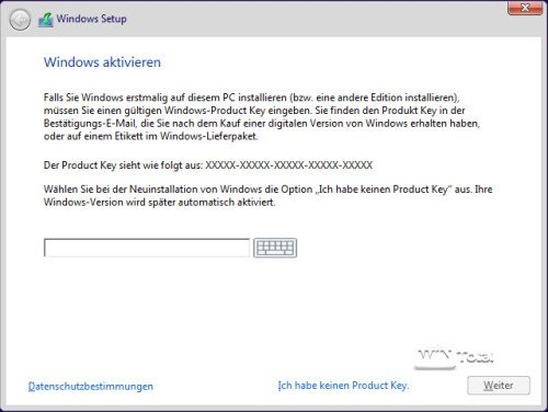Eingabe der Seriennummer Windows 10 Version 1511