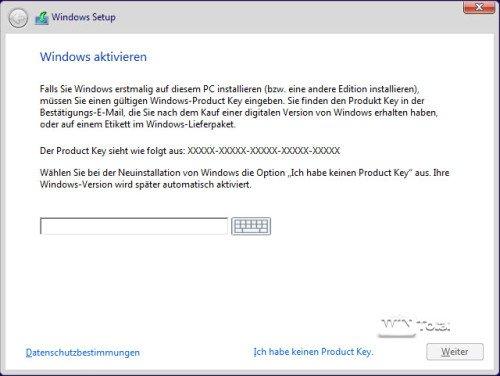 Eingabe der Seriennummer Windows 10 Version 1511