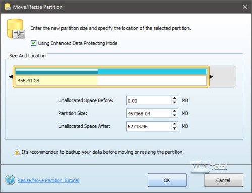 MiniTool Partition Wizard, resize