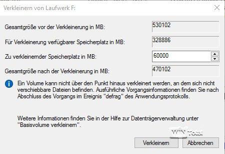 Verkleinern über die Datenträgerverwaltung