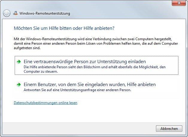 fernsteuerung: windows-remoteunterstützung und alternativen, Einladung